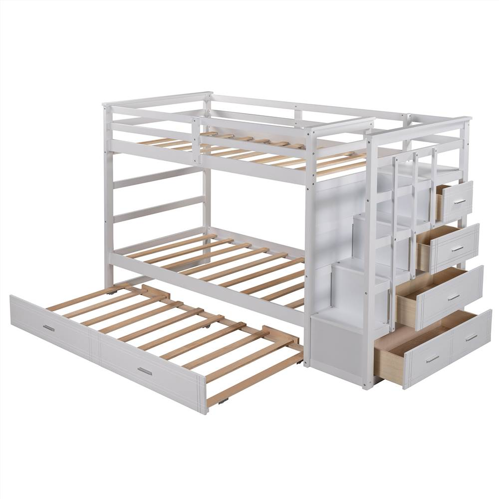 Twin-Over-Twin Size Bunk Bed Frame with Trundle Bed, 4 Storage Drawers, and Wooden Slats Support, No Spring Box Required (Frame Only) - White