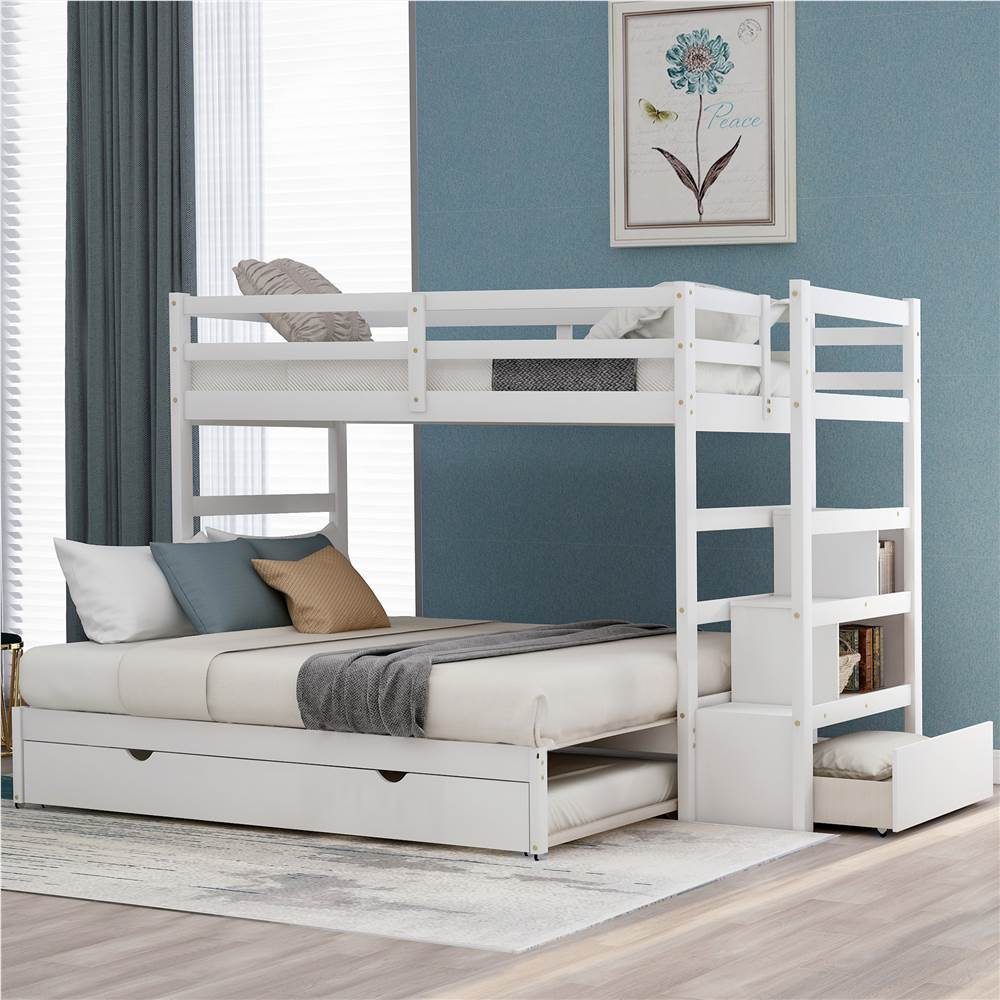 Twin-Over-Twin/King Size Wooden Bunk Bed Frame with Trundle Bed, and Storage Stairs, No Spring Box Required (Frame Only) - White