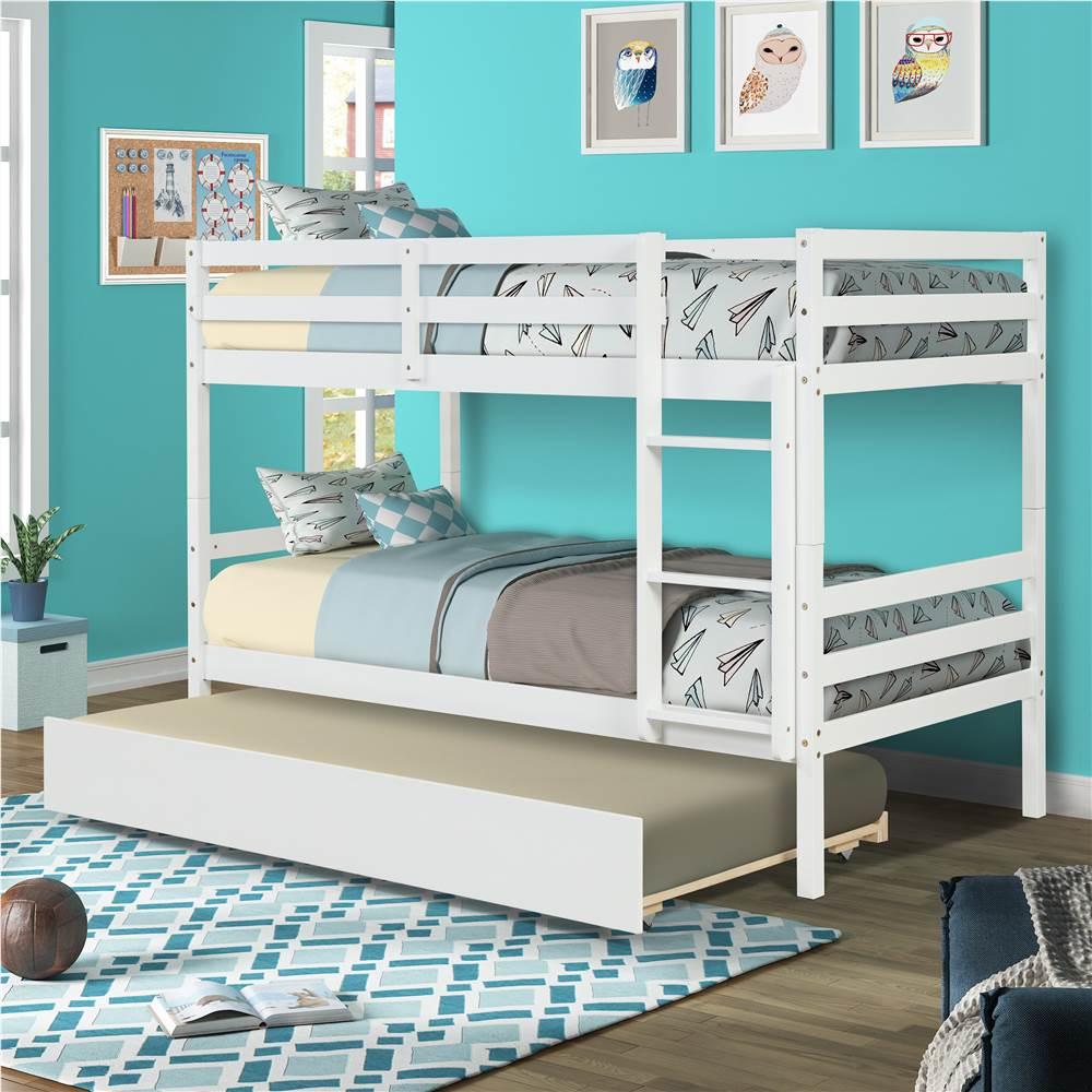 Cadre de lit superposé simple sur simple avec lit gigogne et support de lattes en bois, aucune boîte à ressort requise (cadre uniquement) - Blanc
