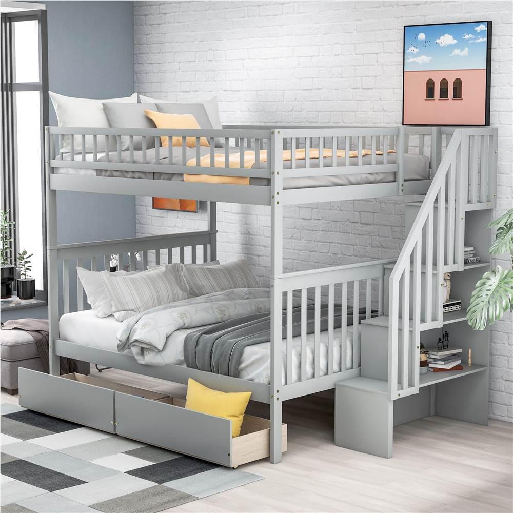 Cadre de lit superposé pleine grandeur avec 2 tiroirs de rangement et support de lattes en bois, aucune boîte à ressort requise (cadre seulement) - Gris