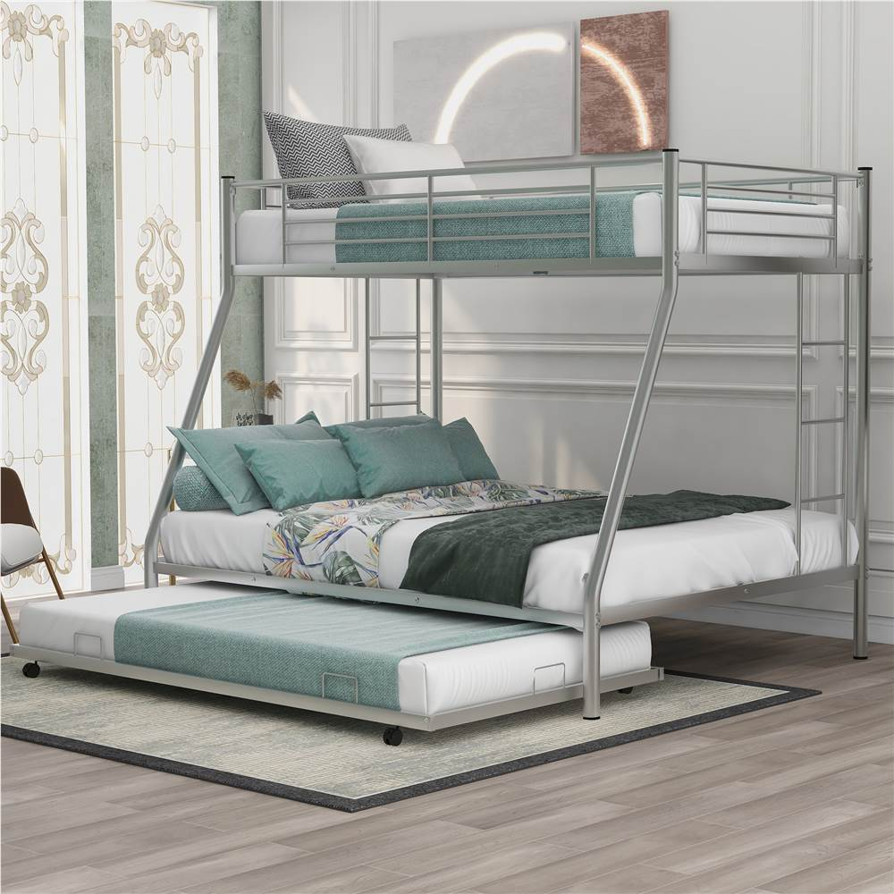 Twin-Over-Full Size Bunk Bed Frame with Trundle Bed, and Metal Slats Support, No Spring Box Required (Frame Only) - Silver