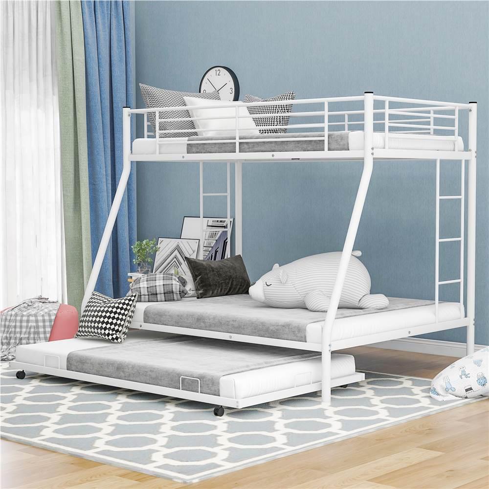 Cadre de lit superposé double sur pleine taille avec lit gigogne et support de lattes en métal, aucune boîte à ressort requise (cadre uniquement) - Blanc