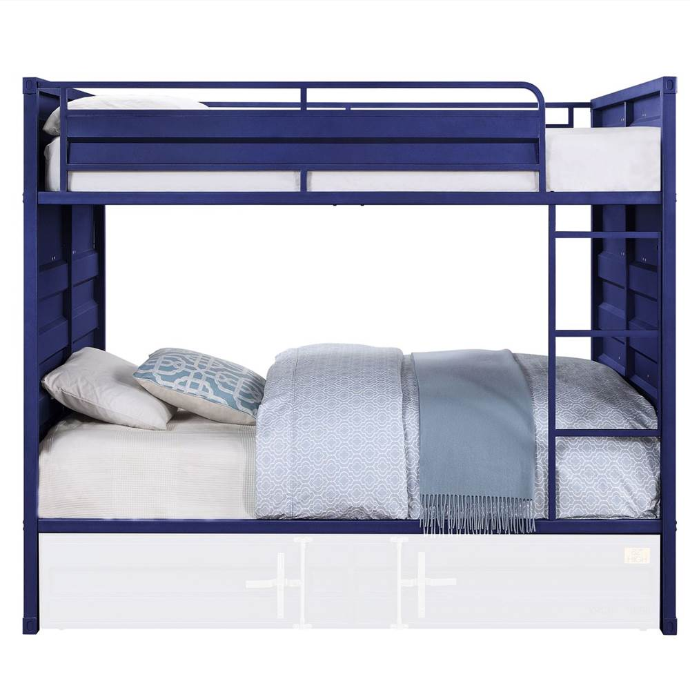 ACME Full-Over-Full Size Container Style Bunk Bed Frame with Ladder, and Metal Slats Support, No Spring Box Required (Frame Only) - Blue