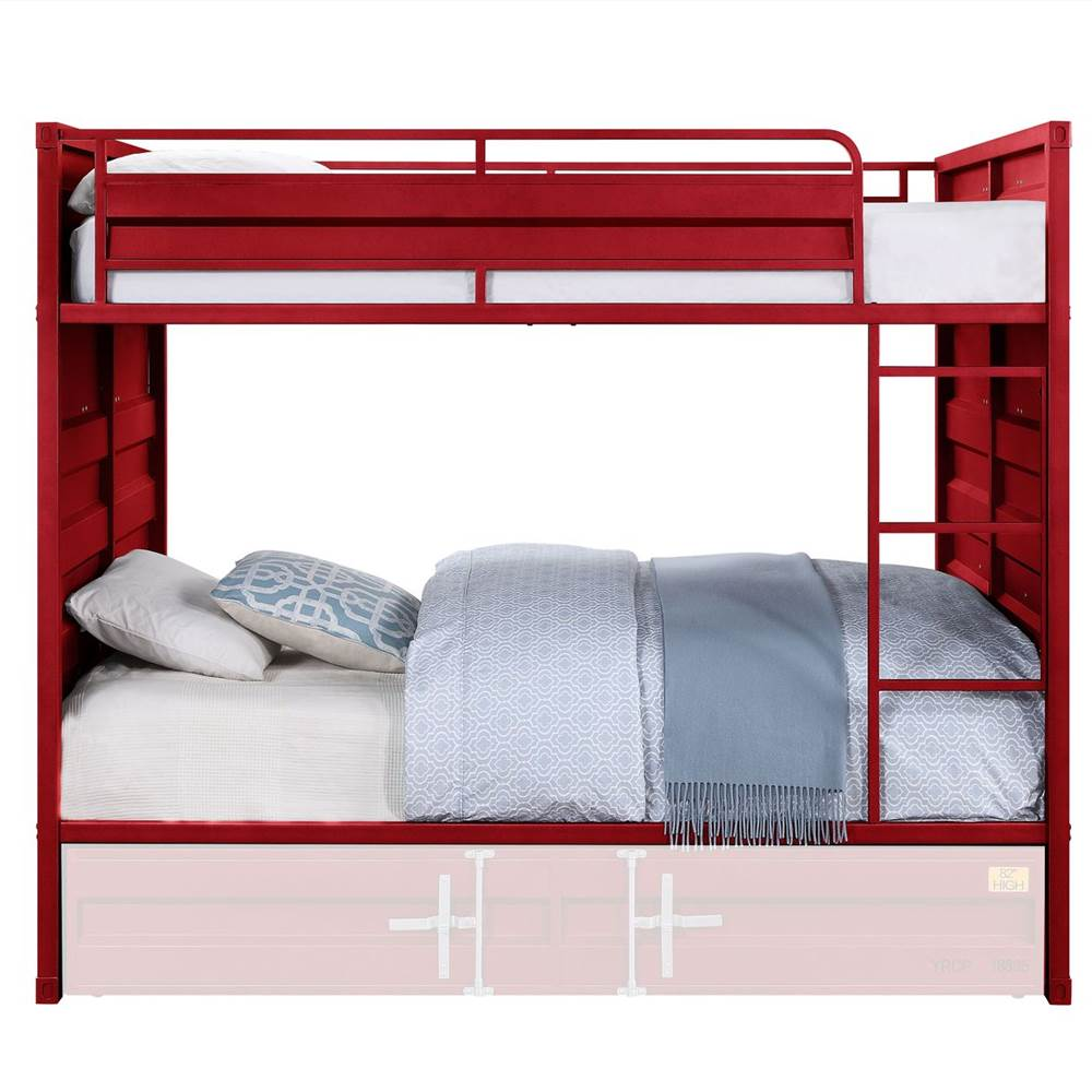 ACME Full-Over-Full Size Container Style Bunk Bed Frame with Ladder, and Metal Slats Support, No Spring Box Required (Frame Only) - Red