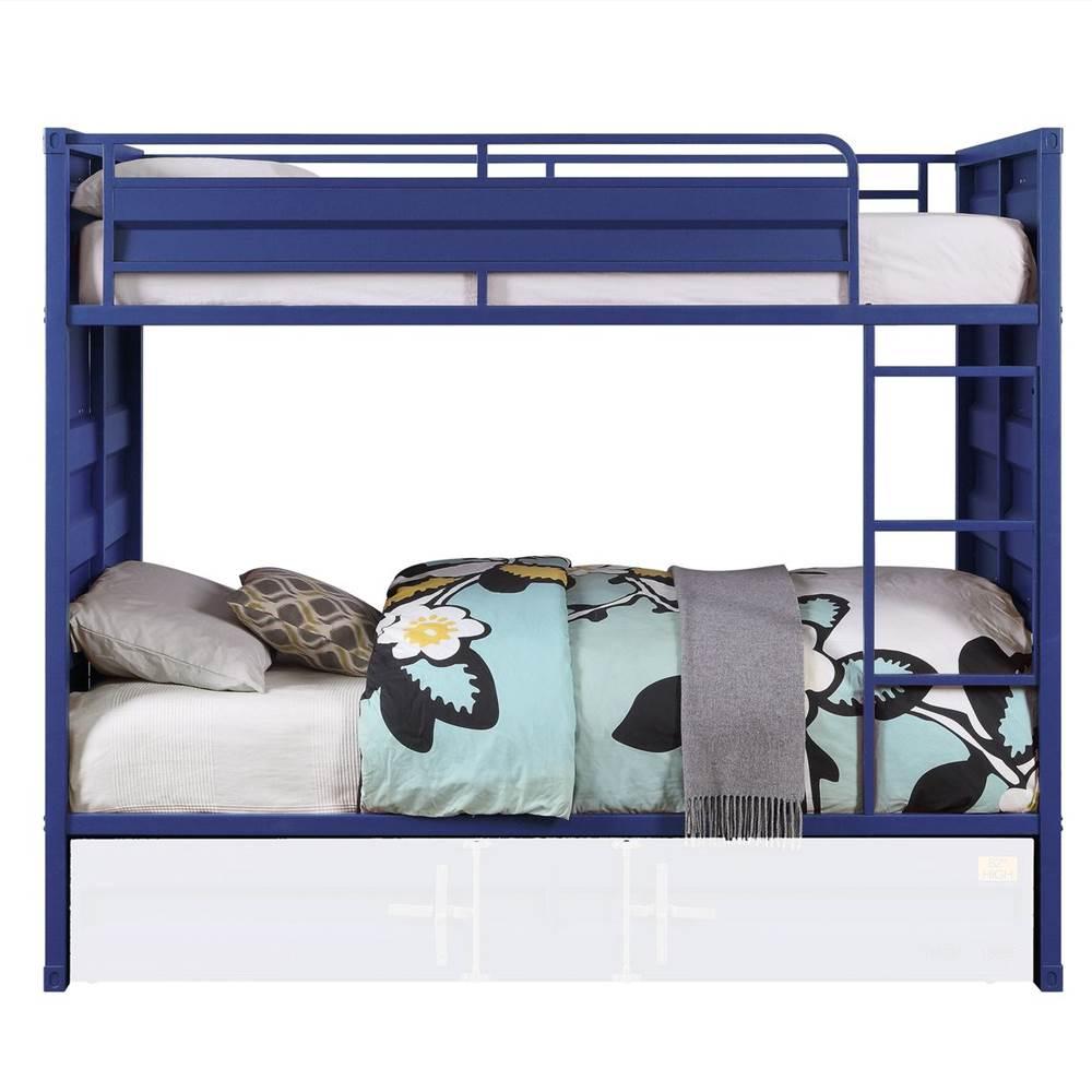 Cadre de lit superposé de type conteneur ACME Twin-Over-Twin avec échelle et support de lattes en métal, aucune boîte à ressort requise (cadre uniquement) - Bleu