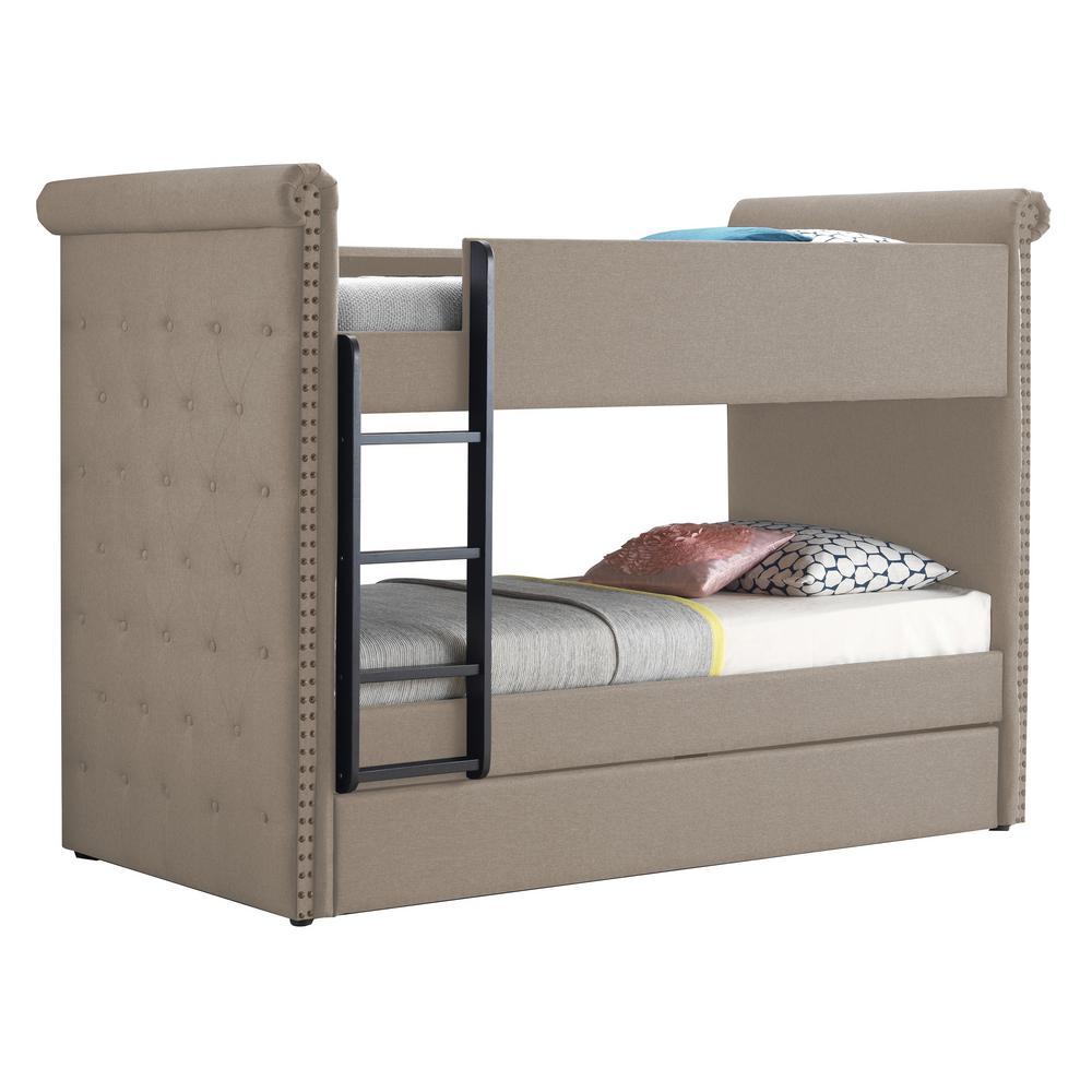 Cadre de lit superposé en tissu ACME avec lit gigogne et support de lattes en bois, aucune boîte à ressort requise (cadre uniquement) - Beige