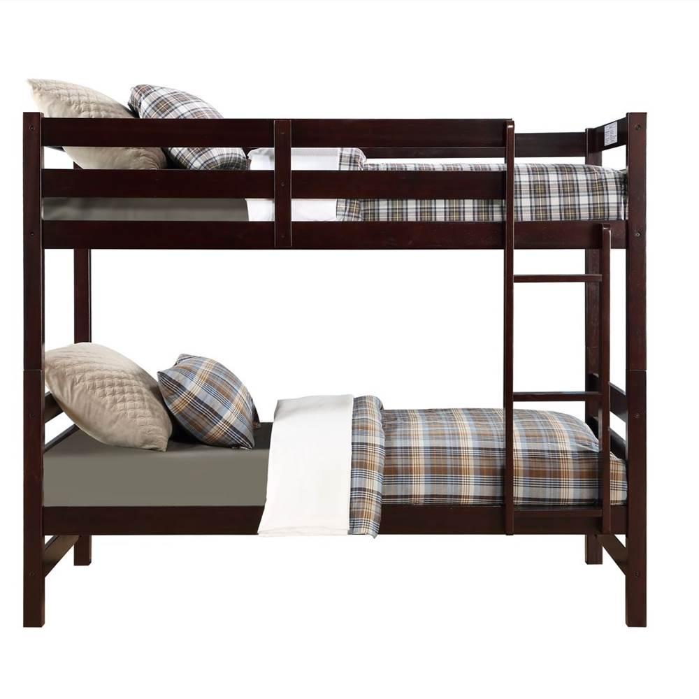 Cadre de lit superposé ACME Twin-Over-Twin avec échelle et support de lattes en bois, aucune boîte à ressort requise (cadre uniquement) - Espresso