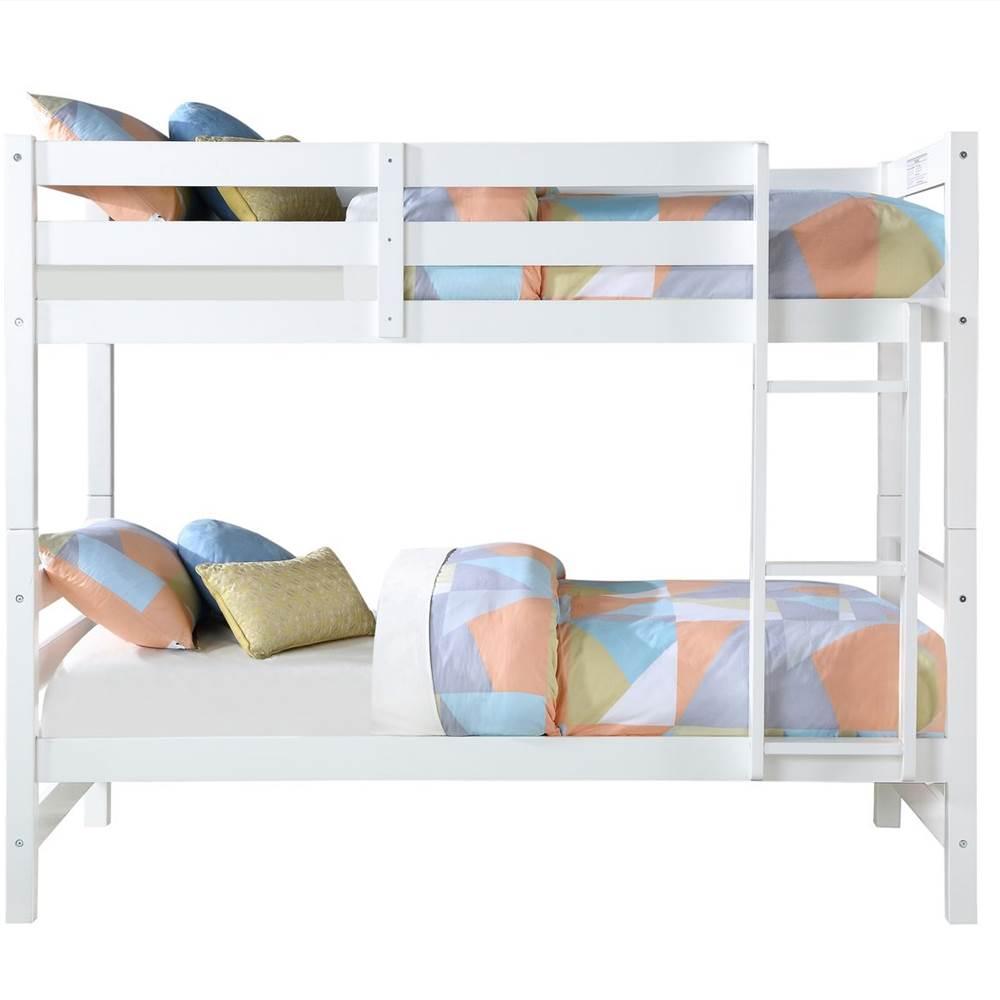 Cadre de lit superposé ACME Twin-Over-Twin avec échelle et support de lattes en bois, aucune boîte à ressort requise (cadre uniquement) - Blanc