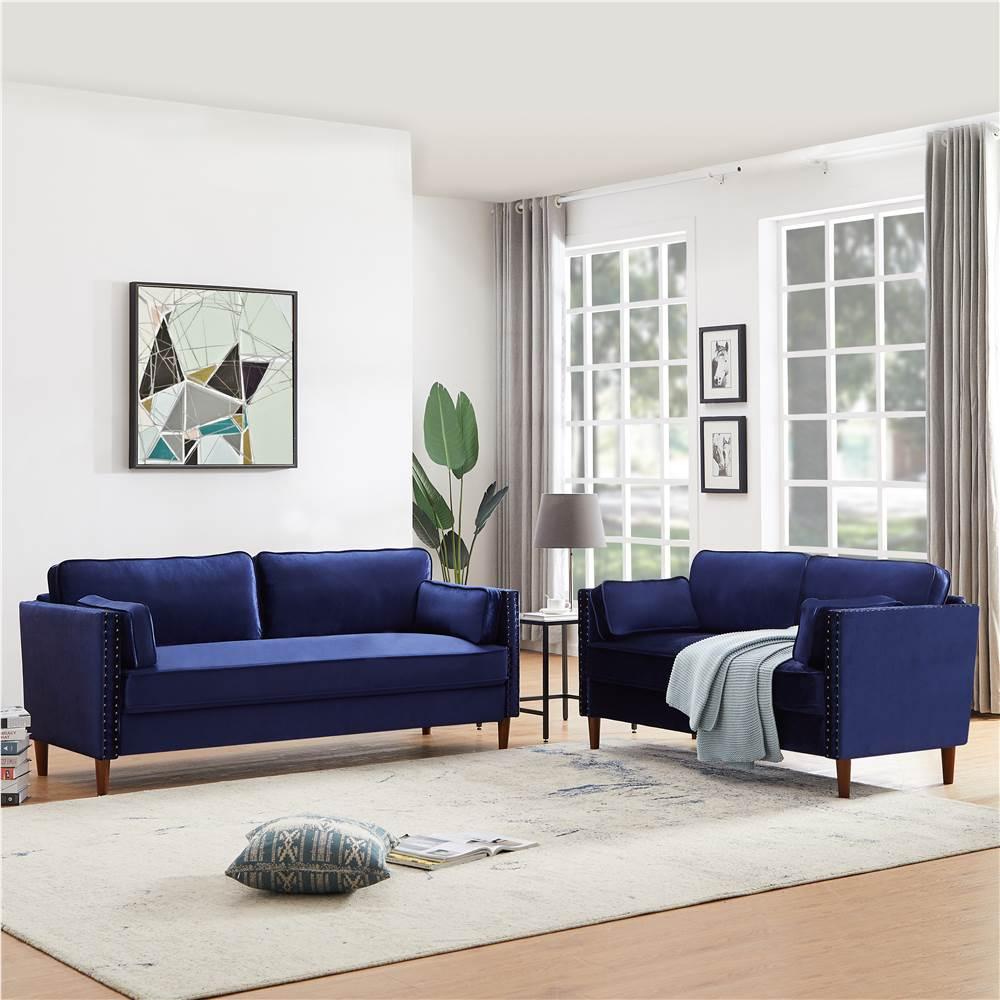 2+3-Seat Velvet Upholstered Sofa Set, with Wooden Frame, for Living Room, Bedroom, Office, Apartment - Blue