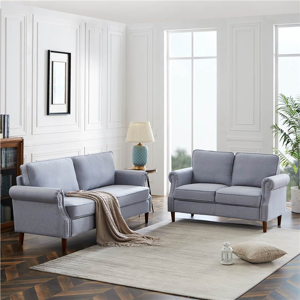 2+3-Seat Linen Upholstered Sofa Set, with Wooden Frame, for Living Room, Bedroom, Office, Apartment - Gray