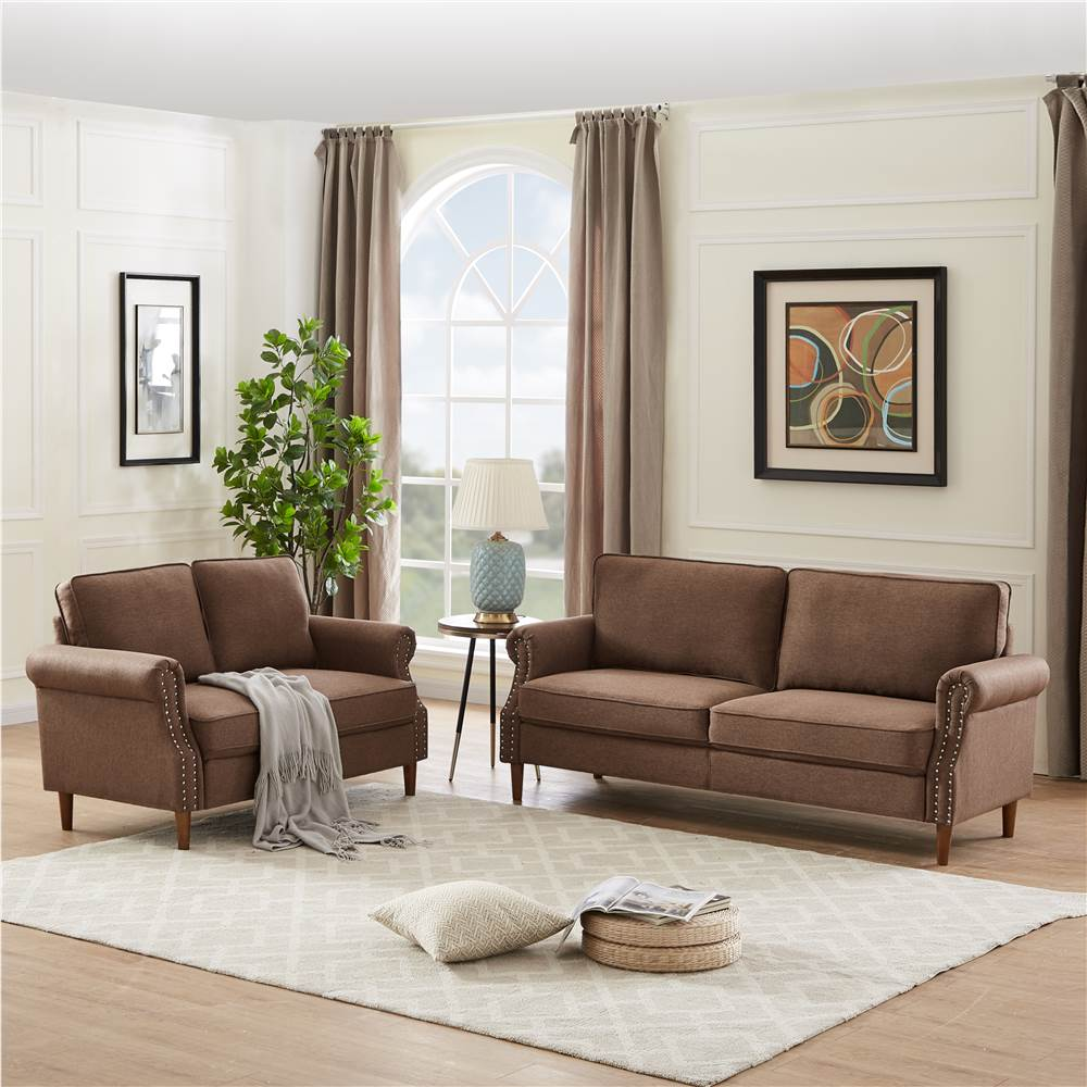 2+3-Seat Linen Upholstered Sofa Set, with Wooden Frame, for Living Room, Bedroom, Office, Apartment - Brown
