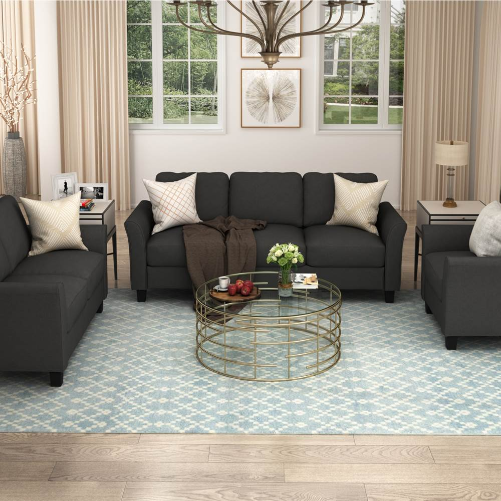 U-STYLE 3+2+1-Seat Polyester Blend Sofa Set, with Solid Wood Frame and Plastic Feet, for Living Room, Bedroom, Office, Apartment - Black