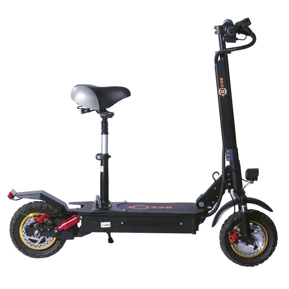 BEZIOR S1 Внедорожный электрический скутер 13 Ач Аккумулятор 1000 Вт Мотор до 50 км Пробег в пути 10 дюймов Колесо 45 км / ч Дисковый тормоз из алюминиевого сплава Корпус - черный
