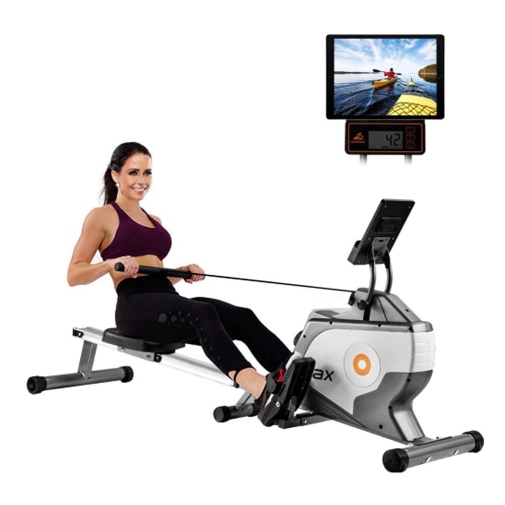 Merax vikmaskin med magnetiskt spänningssystem LED-skärm för fitness Kompakt vikningsdesign - Svart