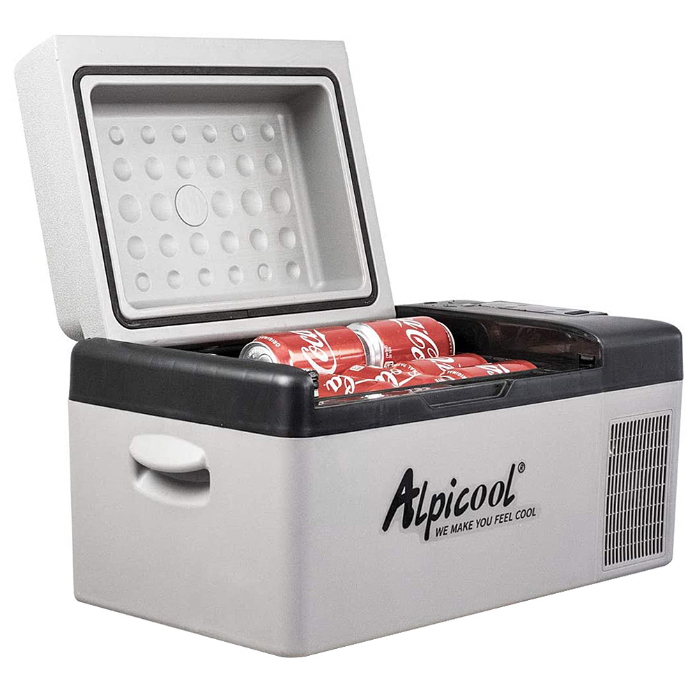 Alpicool C20 Портативный мини-холодильник Компрессор Холодильник Электрический охладитель Быстрая заморозка 20L Емкость ЖК-панель управления для автомобиля, автомобиля, грузовика, фургона, лодки - черный