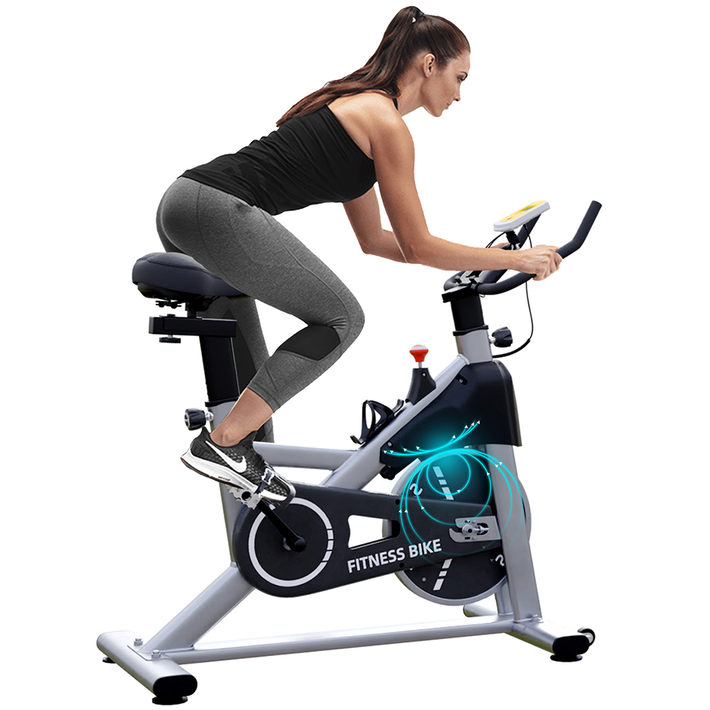 Hapichil SB001-B pörgő kerékpár bicikli testmozgás fitnesz kerékpár mágneses ellenállás és nehéz lendkerék sima, csendesen állítható magasság beltéri edzéshez - ezüst