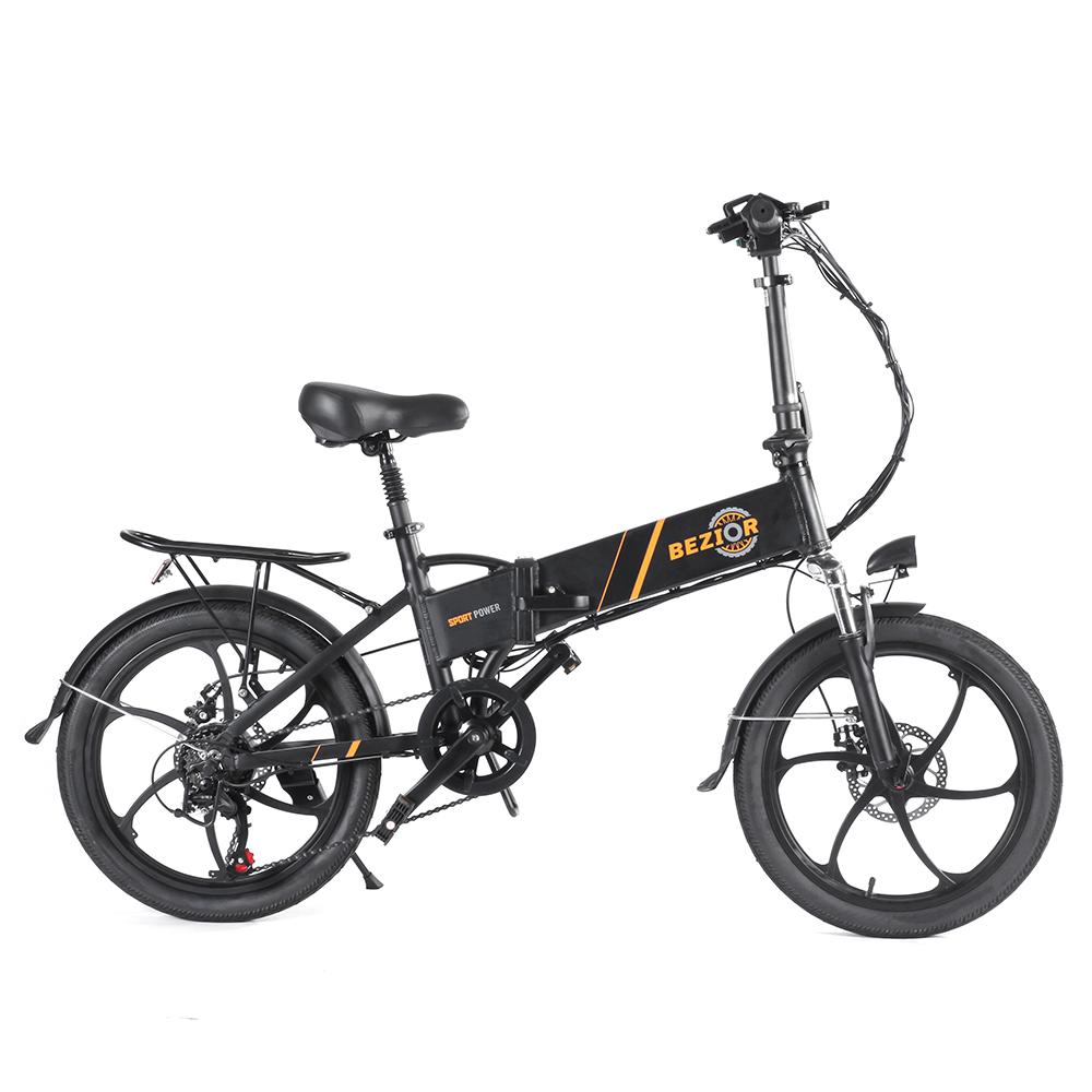 BEZIOR M20 Πτυσσόμενο Ηλεκτρικό Ποδήλατο 48V 10.4Ah Μπαταρία 350W Μηχανή χωρίς ψήκτρες 20 ιντσών Ελαστικό Πλαίσιο κράματος αλουμινίου Shimano 7-ταχυτήτων Shift Max Speed 35km / h LCD Meter Disk Brake - Black