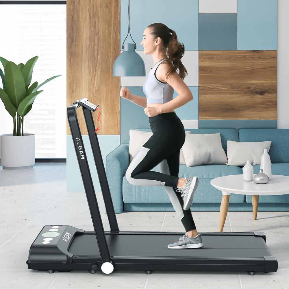 ACGAM B1-402 Tapis de course portable Machine de marche intelligente 2 en 1 Jogging et course en plein air Entraînement de fitness en intérieur Équipement de gymnastique Haut-parleur Bluetooth intégré sans installation avec roues, Télécommande pour la maison et le bureau - Noir