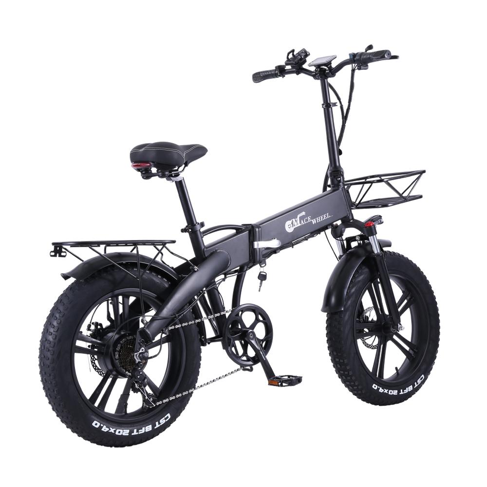 CMACEWHEEL GT20 Pro Folding Electric Moped Bike CST 20 * 4.0 Fat Tire Five Speeds 750W Motor 48V 10Ah Battery 40km Range Max Speed 45km / h Aluminium Alloy Body - Black