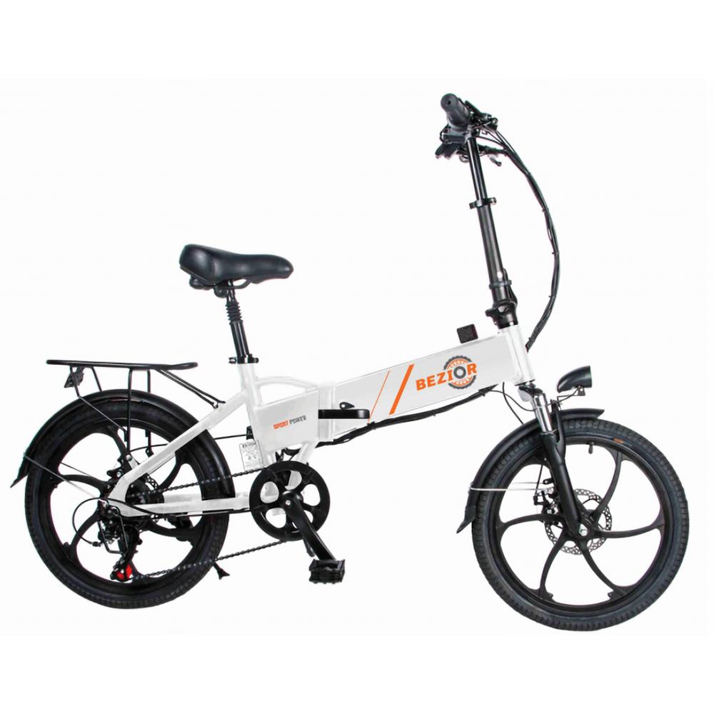 BEZIOR M20 Vélo électrique pliant 48V 10.4Ah Batterie 350W Moteur sans balais Pneu 20 pouces Cadre en alliage d'aluminium Shimano 7 vitesses Shift Vitesse maximale 35 km / h LCD Compteur Frein à disque - Blanc