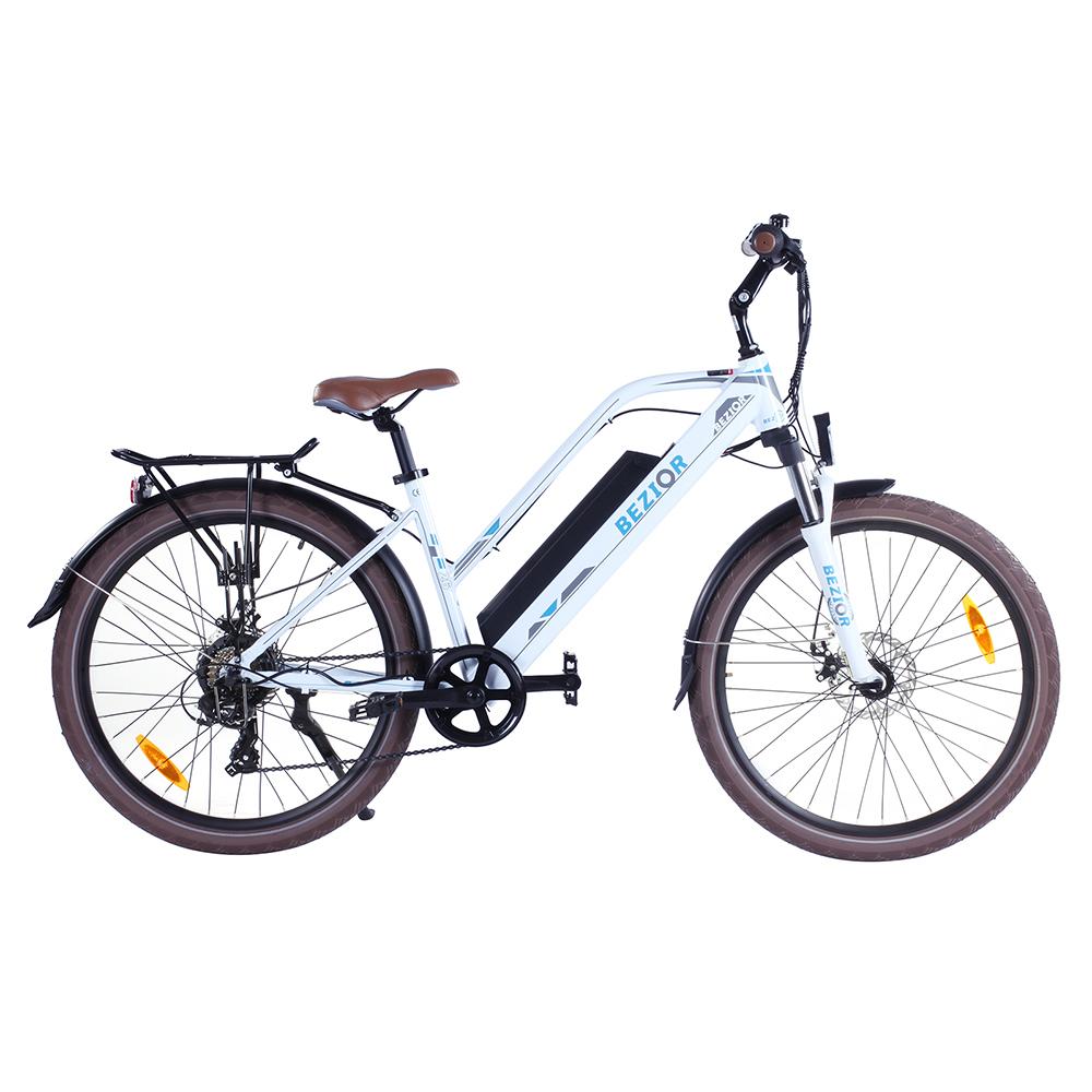 BEZIOR M2 Electric Bike 48V 12.5Ah Аккумулятор 250W Бесщеточный двигатель 26-дюймовая шина Рама из алюминиевого сплава Shimano 7-скоростная смена Макс.скорость 25 км / ч 80 км Диапазон пробега с усилителем 5-дюймовый Smart LCD Meter - белый