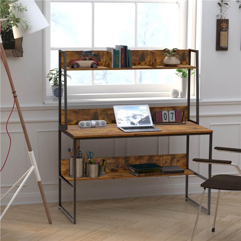 """Home Office 47"""" Computertisch mit Holztischplatte und Metallrahmen, für Spielzimmer, Büro, Arbeitszimmer - Braun"""