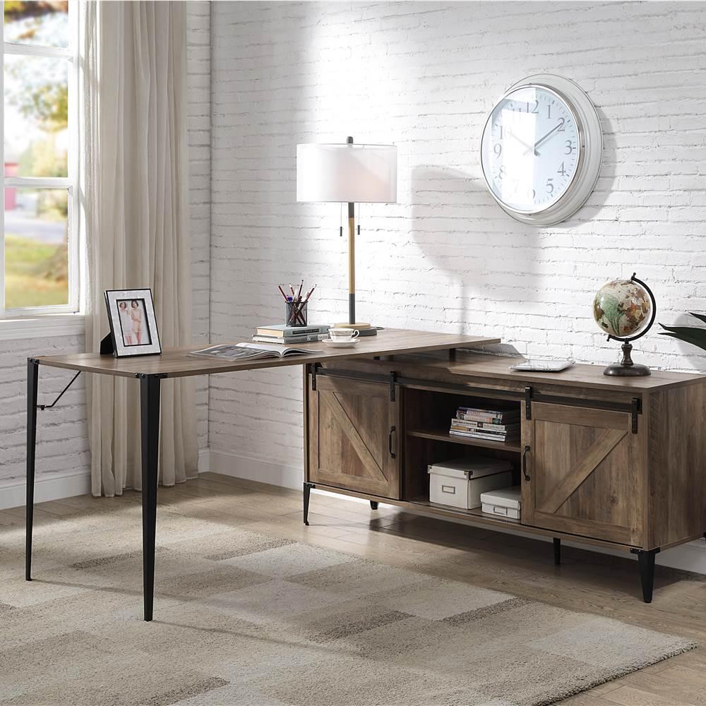 ACME Zakwani Home Office L-förmiger Computertisch mit Aufbewahrungsschränken und Regalen, für Spielzimmer, Büro, Arbeitszimmer - Eiche