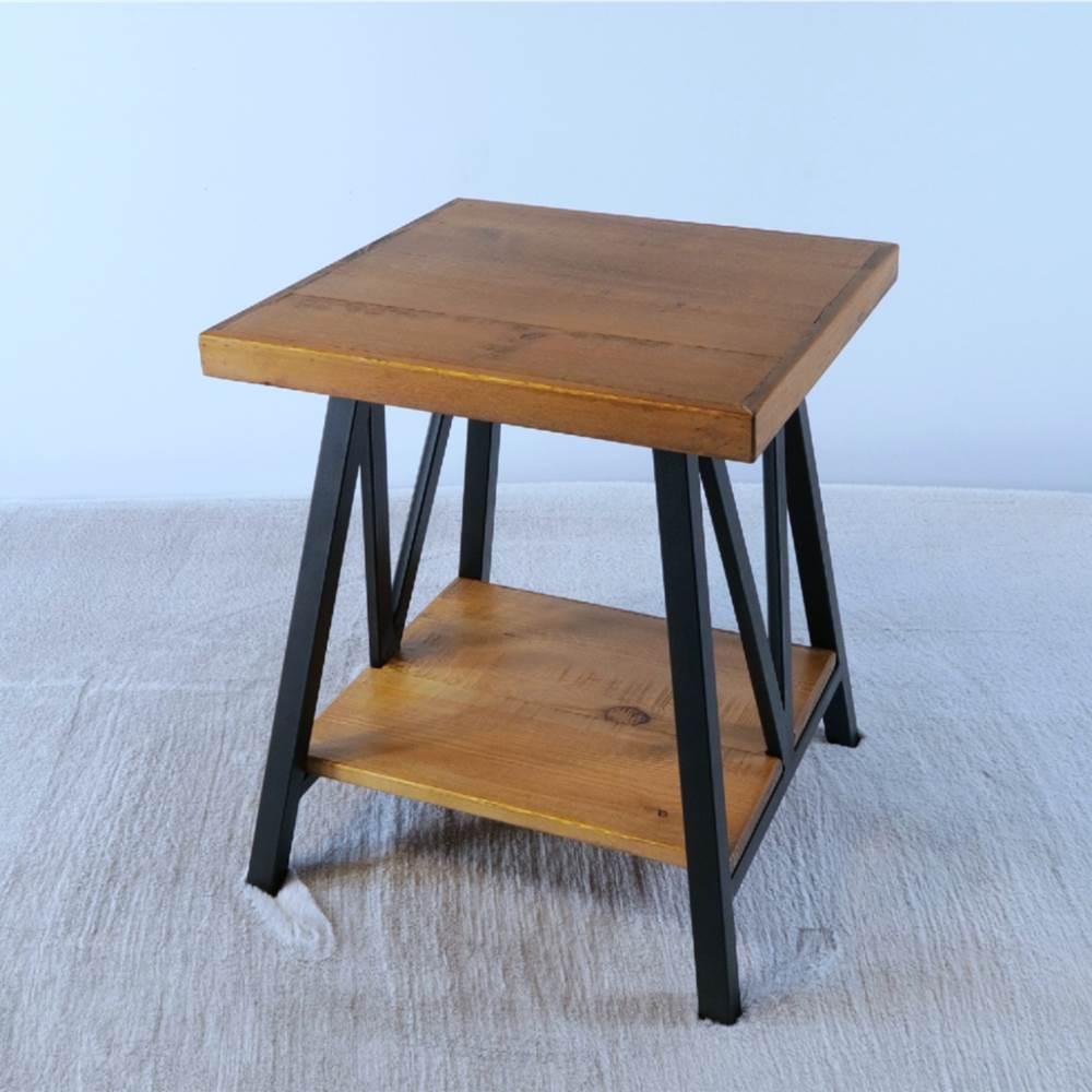 """20"""" Couchtisch aus Holz mit Metallrahmen und Ablageregal, für Küche, Restaurant, Büro, Wohnzimmer, Schlafzimmer - Braun"""
