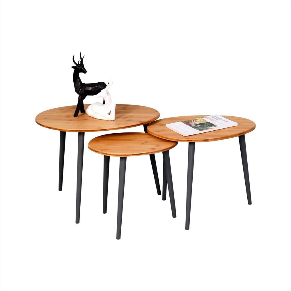 Holz Couchtisch 3er Set, mit Bambus Tischplatte und Kiefer Beinen, für Büro, Schlafzimmer, Esszimmer, Wohnzimmer, Empfangsraum - Braun
