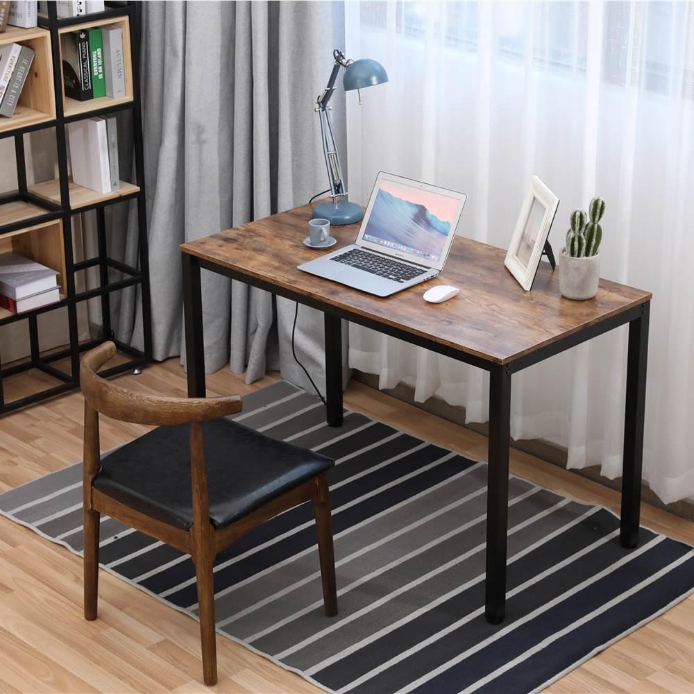 """Home Office 47.2"""" Computertisch mit Holztischplatte und Metallrahmen, für Spielzimmer, Büro, Arbeitszimmer - Braun"""