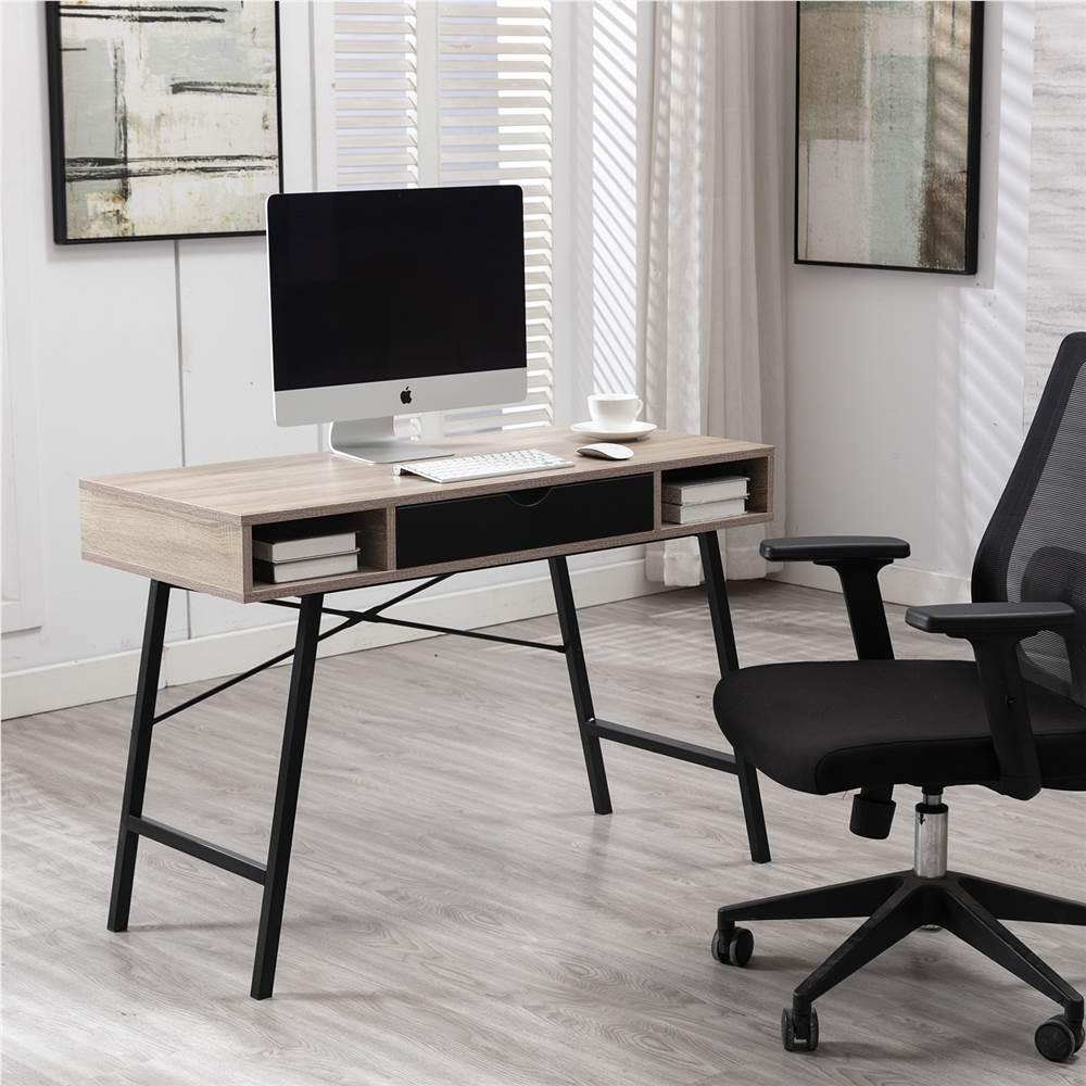 """Home Office 43"""" Computertisch mit Schubladen, Holztischplatte und Metallrahmen, für Spielzimmer, Büro, Arbeitszimmer - Walnuss"""