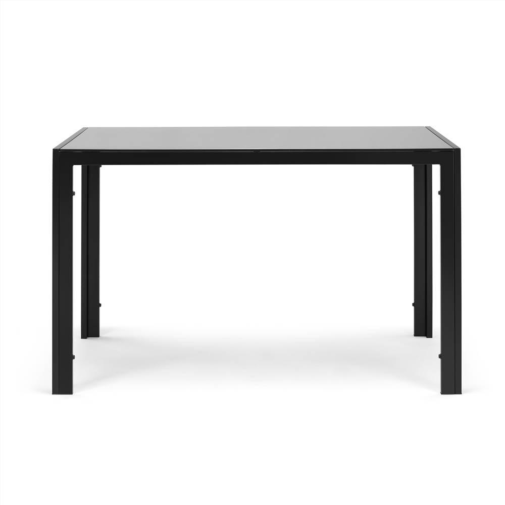 """47"""" rechteckiger Tisch aus gehärtetem Glas mit Metallrahmen, für Esszimmer, Wohnzimmer, Schlafzimmer, Restaurant - Schwarz"""