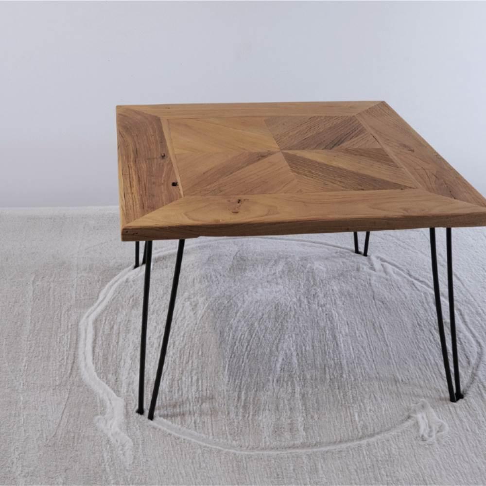 """19 """"-es fa dohányzóasztal fém kerettel a konyhához, étterembe, irodába, nappaliba, kávézóba - barna"""