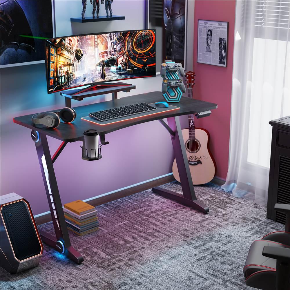 """Home Office 47"""" Computertisch mit RGB-Beleuchtung, Kohlefaser-Oberfläche, Monitorständer und Z-förmigen Beinen, für Spielzimmer, Büro, Arbeitszimmer - Schwarz"""