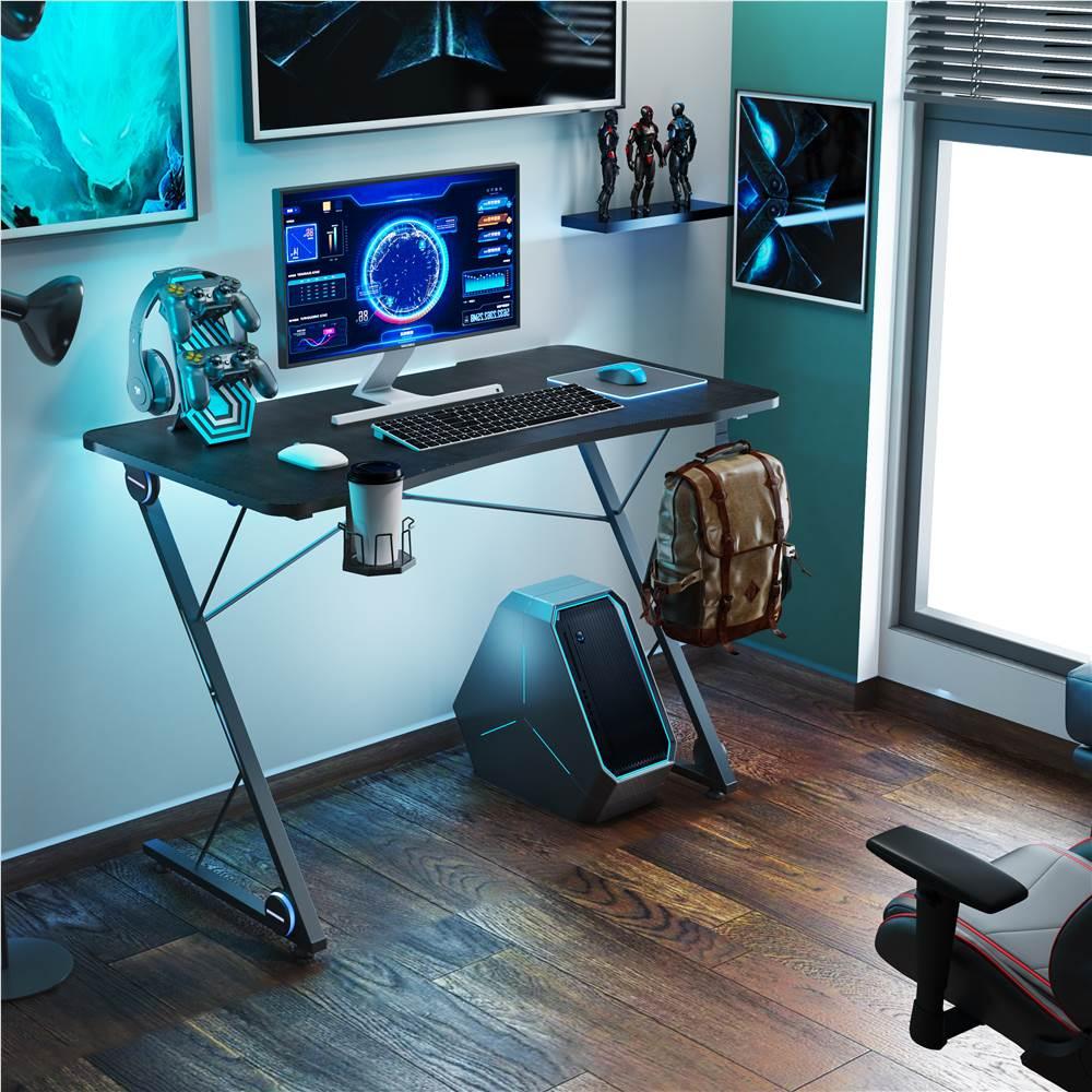 """Home Office 43"""" Computertisch mit LED-Beleuchtung, großer Kohlefaser-Oberfläche und Z-förmigen Beinen, für Spielzimmer, Büro, Arbeitszimmer - Schwarz"""