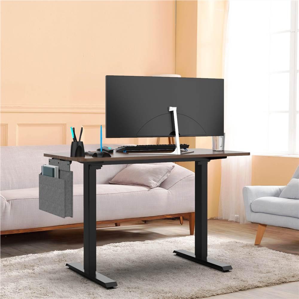 """Home Office 48"""" Elektrischer Lift Computertisch mit Holztischplatte, Metallrahmen, Headset-Haken und Aufbewahrungstasche, für Spielzimmer, Büro, Arbeitszimmer - Schwarz"""