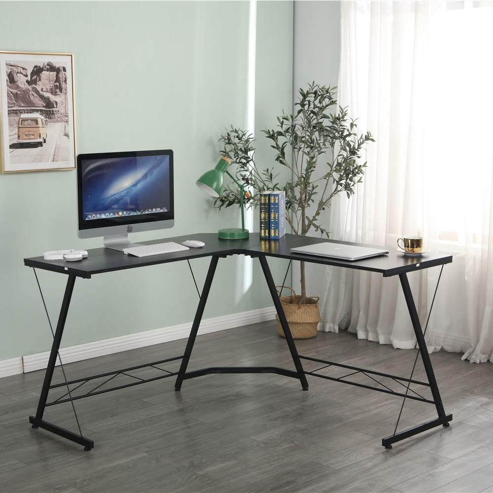 """Home Office 51"""" L-förmiger Computertisch mit Holztischplatte und Metallrahmen, für Spielzimmer, Büro, Arbeitszimmer - Schwarz"""