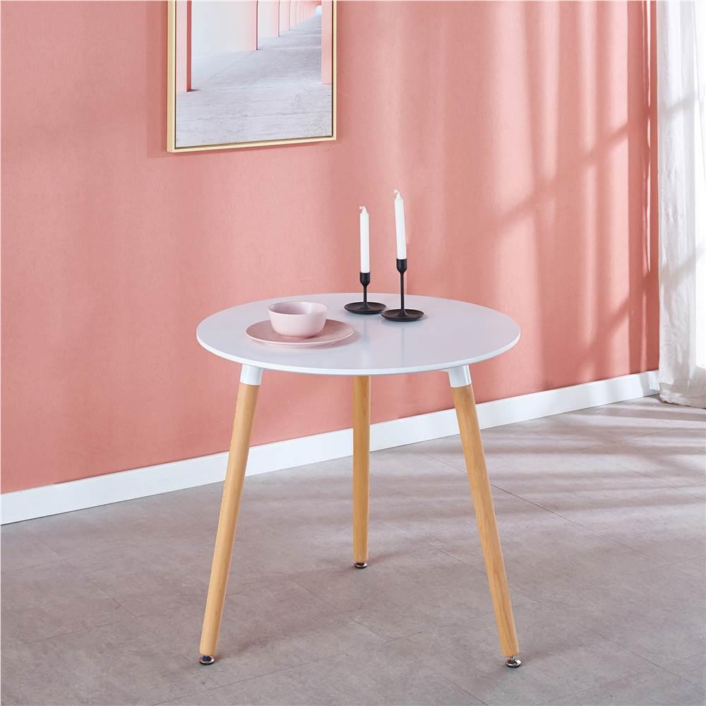 """31.5"""" MDF runder Tisch mit Metallrahmen und Holzbeinen, für Esszimmer, Wohnzimmer, Schlafzimmer, Büro - Weiß"""
