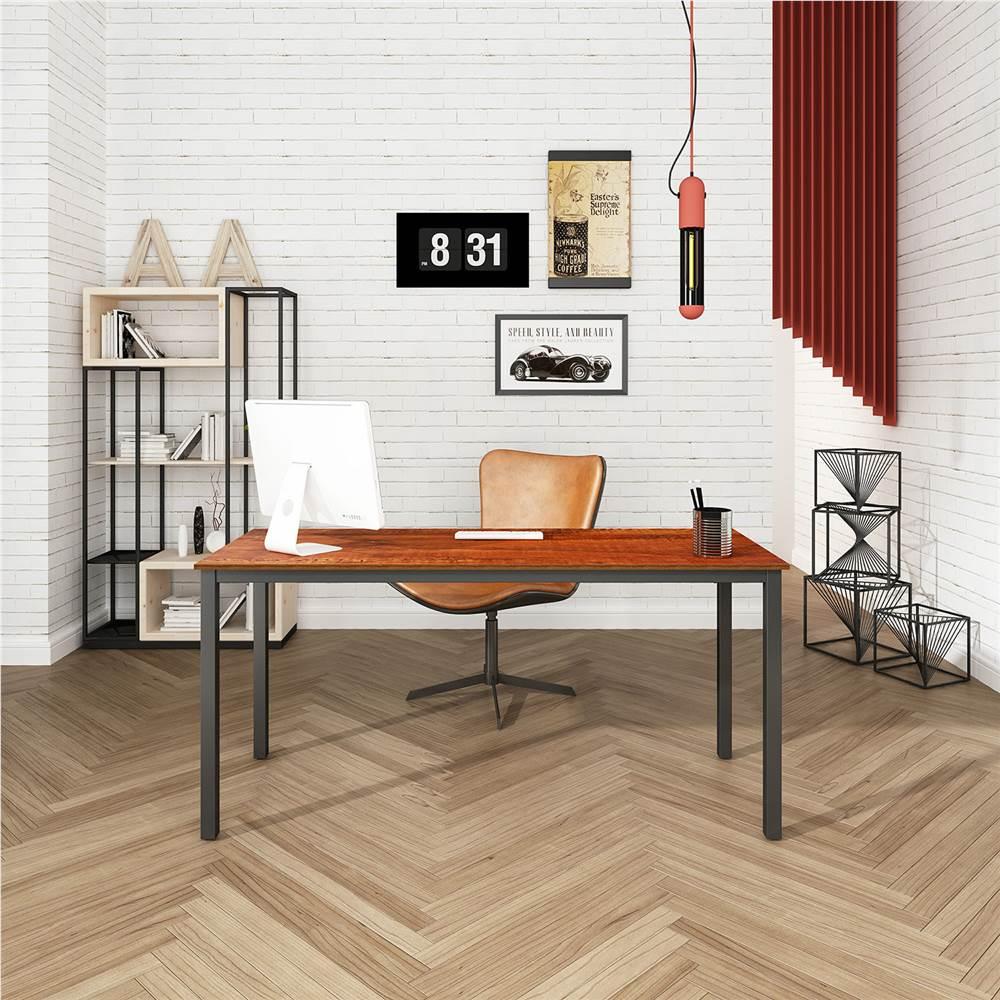 """Home Office 63"""" Computertisch mit Holztischplatte und Metallrahmen, für Spielzimmer, Büro, Arbeitszimmer - Sandelholz"""