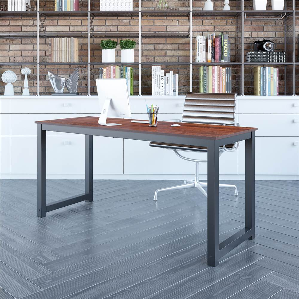 """Home Office 63"""" Computertisch mit Holztischplatte und Metallrahmen, für Spielzimmer, Büro, Arbeitszimmer - Braun"""