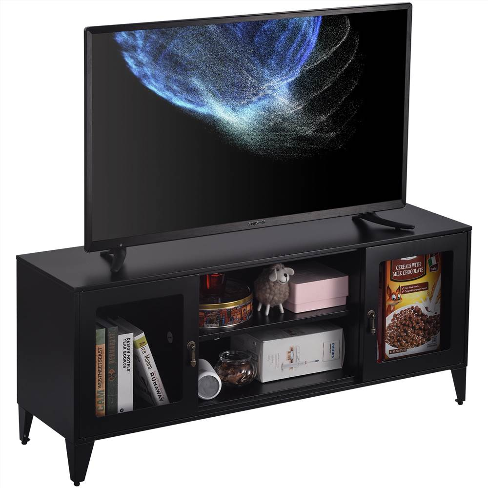 """47"""" Metall-TV-Ständer mit 2 Türen und Ablagefächern, geeignet zum Aufstellen von Fernsehern bis zu 55"""", für Wohnzimmer, Unterhaltungszentrum - Schwarz"""