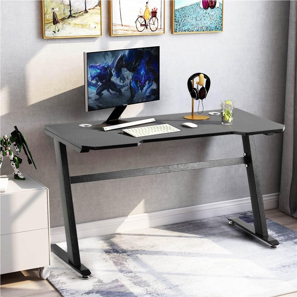 """Home Office 47"""" Computertisch mit Holztischplatte und Metallrahmen, für Spielzimmer, Büro, Arbeitszimmer - Schwarz"""