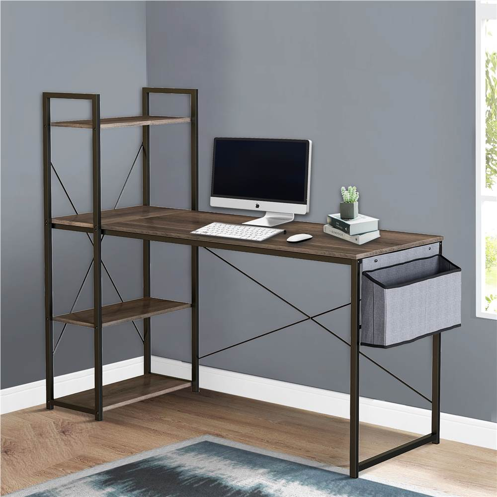 """Home Office 47"""" Computertisch mit offenen Regalen, Stoffaufbewahrungstasche, Holztischplatte und Metallrahmen, für Spielzimmer, Büro, Arbeitszimmer - Schwarz"""