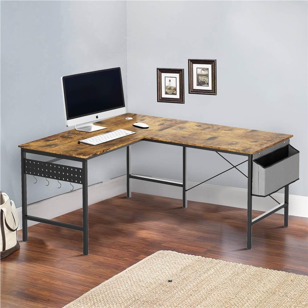 Home Office L-förmiger Computertisch mit Aufbewahrungstasche, Holztischplatte und Metallrahmen, für Spielzimmer, Büro, Arbeitszimmer - Braun