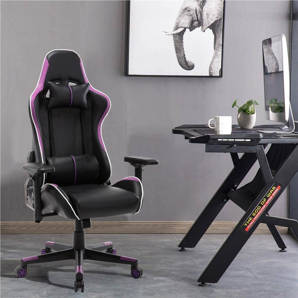 Home Office PU Leather Rotatable Gaming Chair Height Adjustable with Ergonomic High Backrest and Casters - Purple
