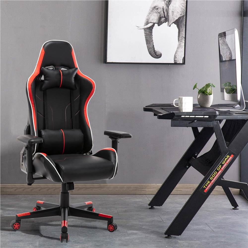 Home Office PU Leather Rotatable Gaming Chair Height Adjustable with Ergonomic High Backrest and Casters - Red