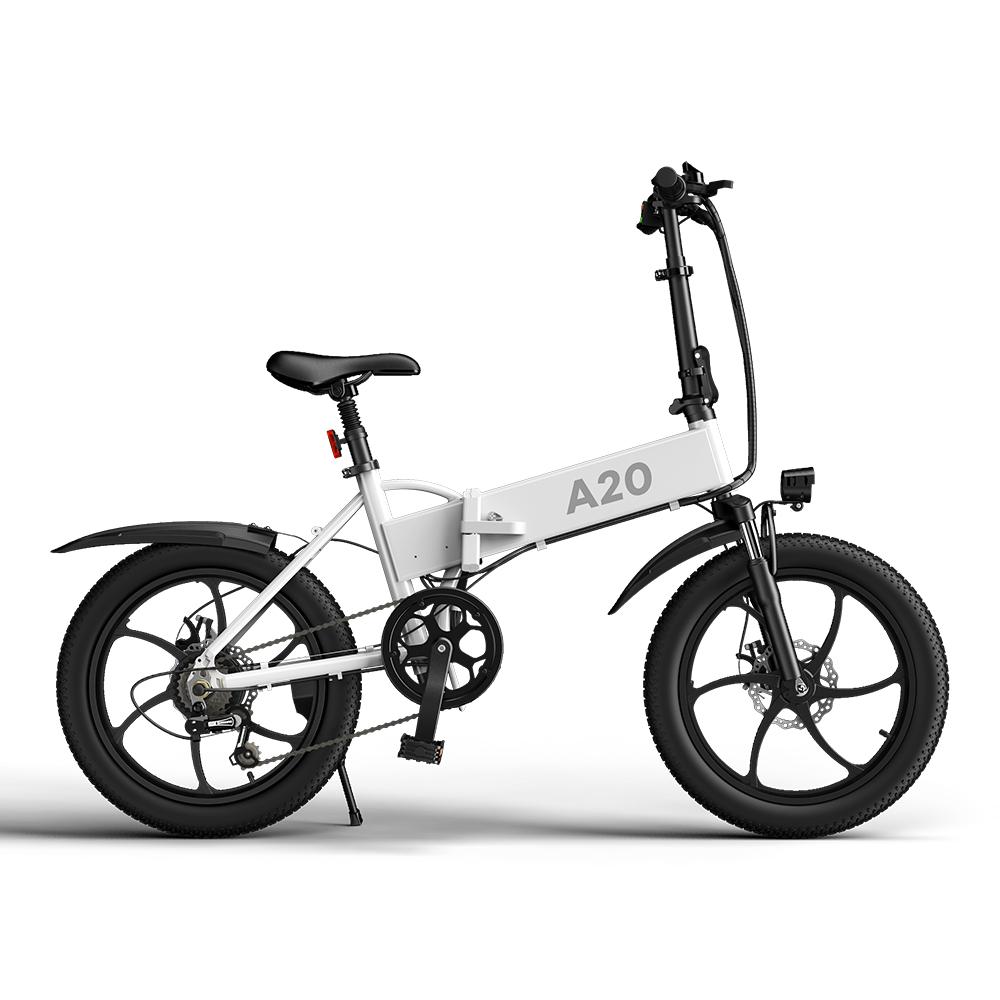 ADO A20 Vélo pliant électrique 20 pouces Vélo de ville 350W Hall Brushless Gear DC Moteur SHIMANO 7 vitesses Dérailleur arrière 36V 10.4Ah Batterie amovible 35km/h Vitesse maximale jusqu'à 60km Portée maximale IPX5 Double absorption des chocs Cadre en alliage d'aluminium - Blanc