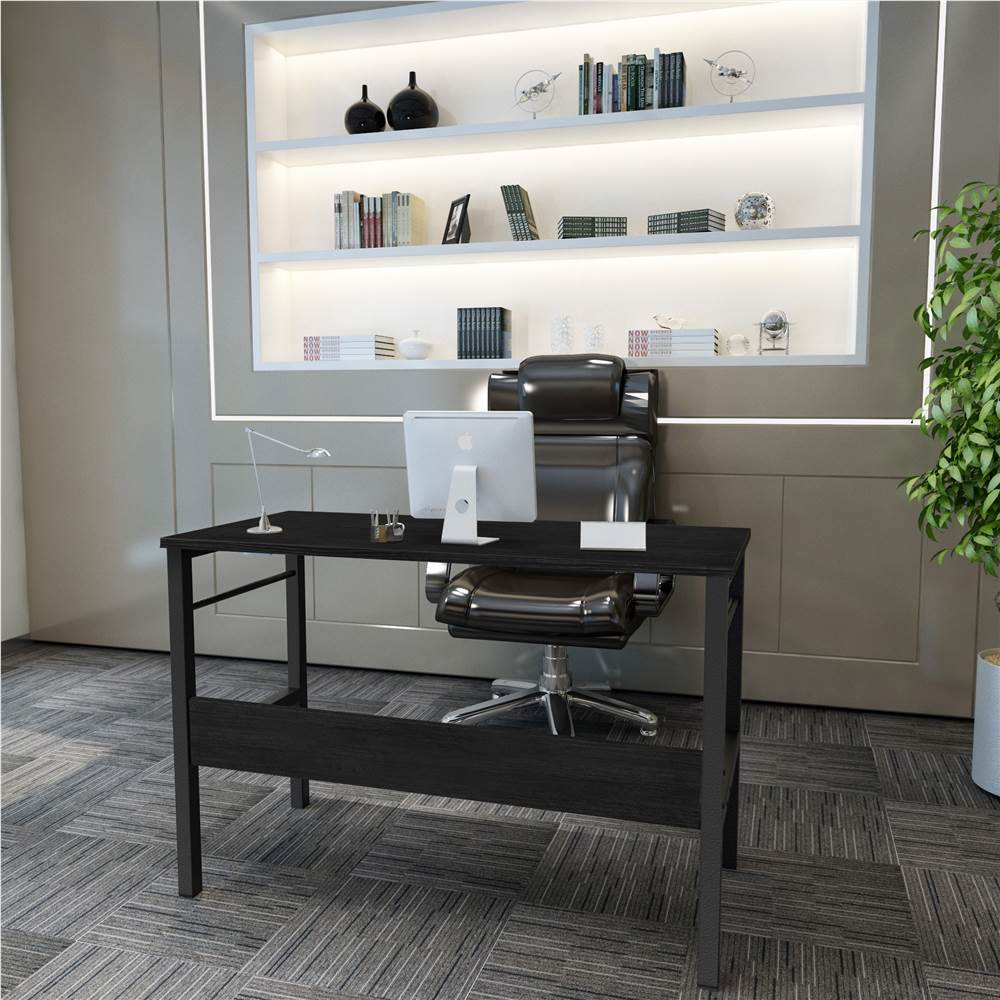 """Home Office 43.3"""" Computertisch mit unterer Ablage, Holztischplatte und Metallrahmen, für Spielzimmer, Büro, Arbeitszimmer - Schwarz"""