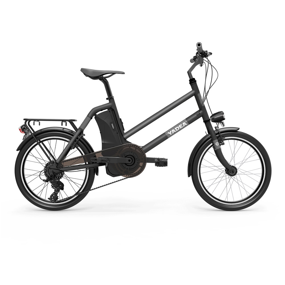 YADEA YT300 20 inch Touring Electric City Bike 350W OKAWA Mid Drive Motor SHIMANO 7-Speed Rear Derailleur 36V 7.8Ah Removable Battery 25km/h Max speed up to 60km Max Range LED Headlight - Black