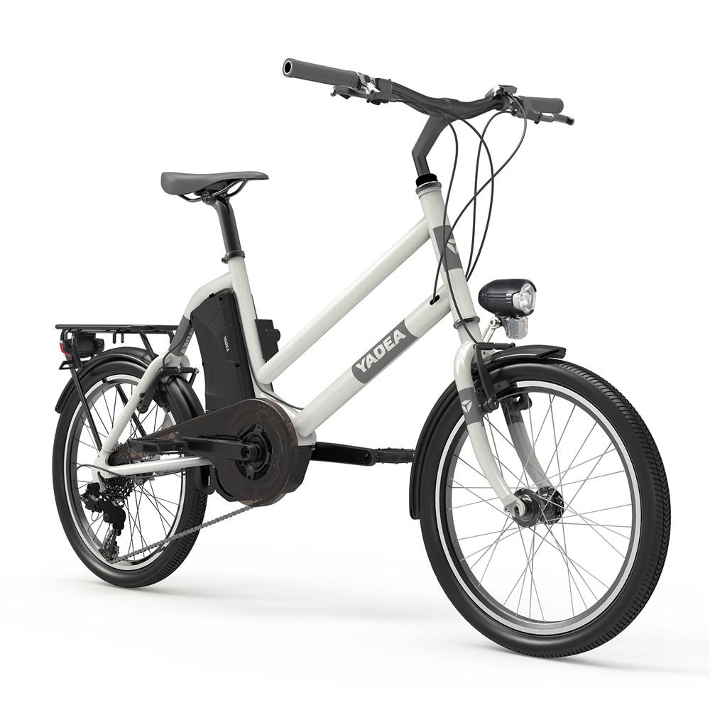 YADEA YT300 20 inch Touring Electric City Bike 350W OKAWA Mid Drive Motor SHIMANO 7-Speed Rear Derailleur 36V 7.8Ah Removable Battery 25km/h Max speed up to 60km Max Range LED Headlight - White
